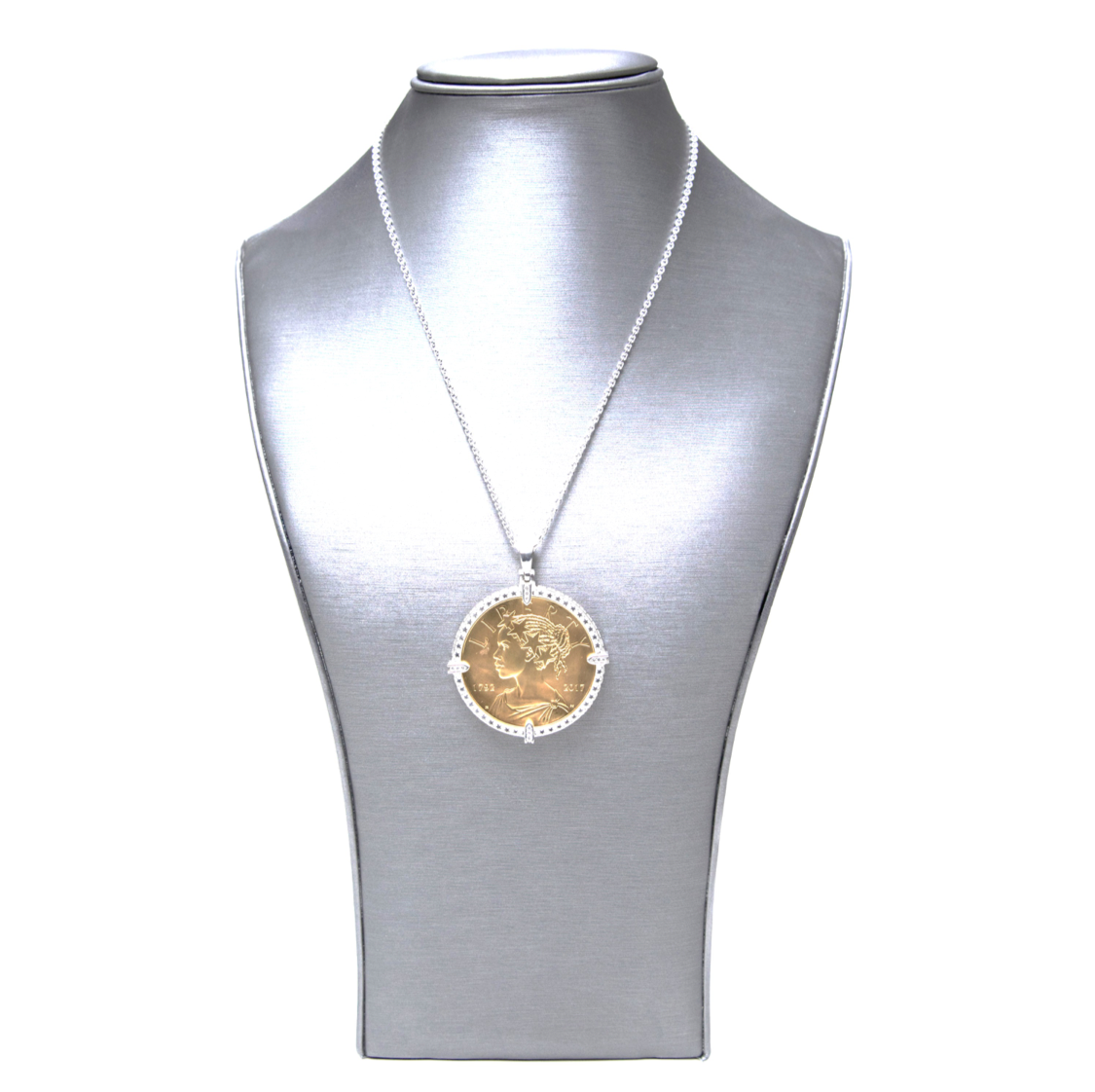 ee939593d 18k Yellow Gold Dipped Silver Coin Set in Sterling Silver Frame with ...